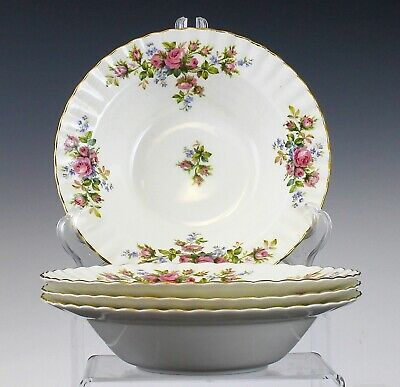 Royal Albert Moss Rose Pattern Set Of 4 Rim Rimmed Soup Bowls England