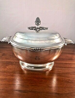 Spectacular French Tetard Freres Sterling Silver 950 Tureen: Empire Style 1,276G