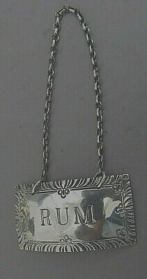 "Stieff Williamsburg Sterling Silver ""Rum"" Decanter Label"