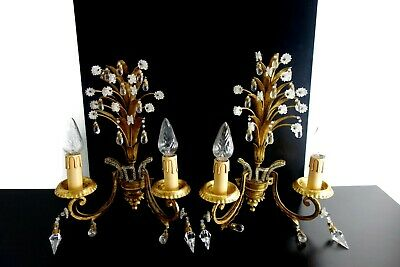 Mid Century Pair Of Wall Lamps Sconces Hollywood Regency Maison Bagues Style