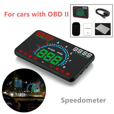 5.8'' HUD Headup Speedometer Display Windshield Dashboard Speed OBD2 Multi-color
