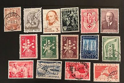 Belgium  postage stamps lot of 15 old.                     A