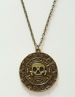 Pirates of the Caribbean Aztec Coin Skull Medallion Necklace with Gift Bag