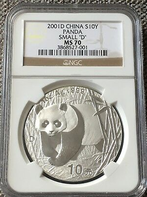 2001-D Silver CHINA Panda Coin  S10Y NGC MS70 (MS 70) Small D