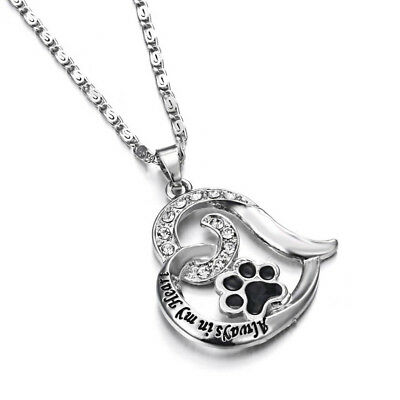 Pet Memorial Loss Always In My Heart Pendant Necklace Cat Dog Paw Print QK