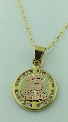 106504b60 14K GOLD QUINCEANERA Pendant with Necklace 15 Anos Pendant and Chain ...