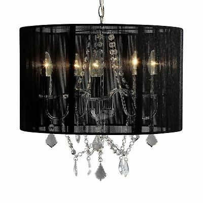 Chrome 5 Light Fitting with Acrylic Droppers and Black String Shade