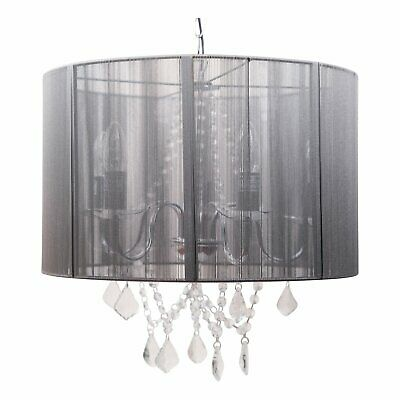Chrome 5 Light Fitting with Acrylic Droppers and Grey String Shade
