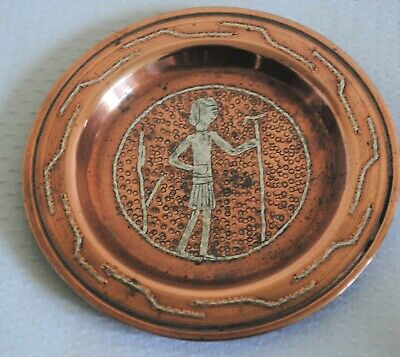 Islamic Hammered Copper Silver Inlay Pin Trinket Dish Islamic Cairo Ware