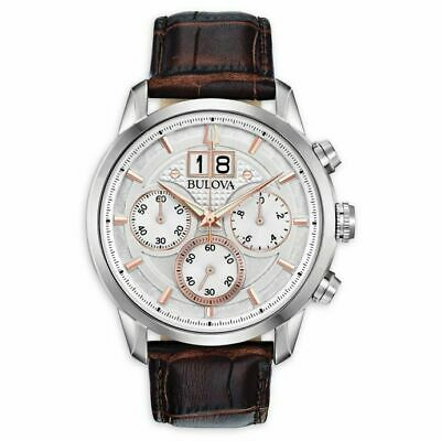 NEW Bulova Men's 96B309 Chronograph Sutton Brown Leather Strap 44mm Watch
