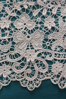 69 cms antique fine embroidered cutwork lace border