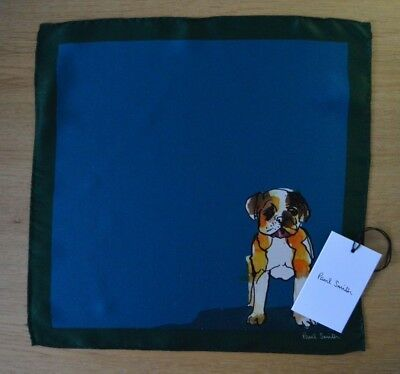 PAUL SMITH Mens blue green BULLDOG suit 100% silk pocket square handkerchief DOG
