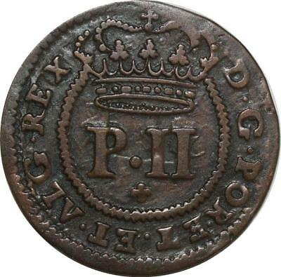 O7842 Scarce Portugal 3 Reis Pedro II 1699 Little incuse ->Make offer