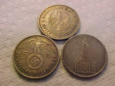 THREE  5 Reichsmark Germany Coins 1934 A, 1937 & 1936 ALL XF - AU COINS