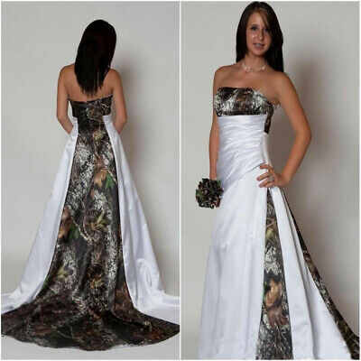 Camouflage Wedding Dresses.Strapless Camo Wedding Dress A Line Camouflage Bridal Gowns Custom Size 2 4 6 8