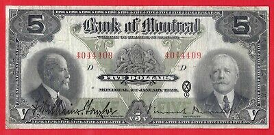 1923 $5 Bank of Montreal Canada Chartered Large Size Note - VF