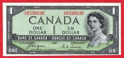 1954 $1 Bank of Canada Note Devil Face A/A Prefix BC-29a - AU Cleaned