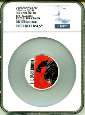2016 Fiji Silver $2 - The Dark Knight - Colorized - 2 oz - PF70 UC FR - NGC Coin