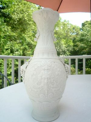 Antique Parian Marble Baluster face Mask Vase Bennington Pottery most likely