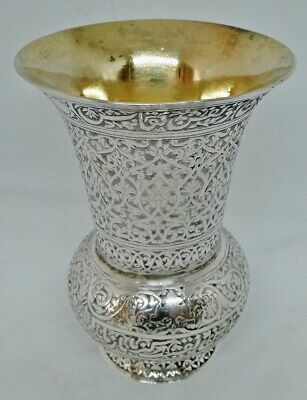 Superb Kashmir Indian Solid Silver & Gilt Vase Rare Islamic Calligraphy 1870