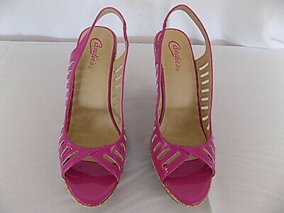 811aca02919 Candies Womens Sz 9 Med Strappy Phyliss Fuschia Peep Toe High Heels Sandals