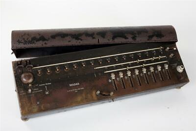 """Vintage ~ c1920  """"MADAS"""" Mechanical Calculator or Adding Machine with Cover"""