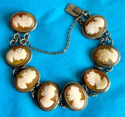 Antique Victorian Bracelet Hand Carved Shell Cameo 800 Silver Setting