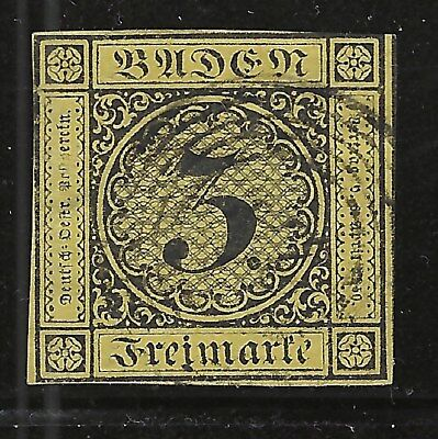 Classic German State---BADEN...#2a (Thin Paper)...Used...1851...SCV $35.00