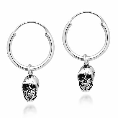 Unique & Edgy Skull on a Sterling Silver Hoop Earrings