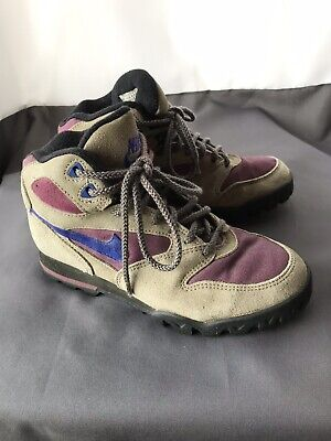 7cb2743fbb0 VINTAGE NIKE CALDERA Hiking Boots Shoes Made In Korea Women's 7 Tan Suede  Purple