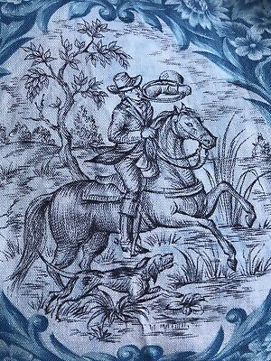 """Antique Toile De Jouy French blue Chasse Hunting Boar Cotton Fabric 10""""/45"""""""