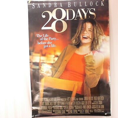 28 Days Poster Movie Theater Double Sided Original 27 X 40 2000 Sandra Bullock