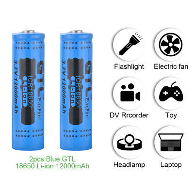 2/4PCS 18650 Rechargeable Battery 12000mAh 3.7v Li-ion for Flashlight Torch