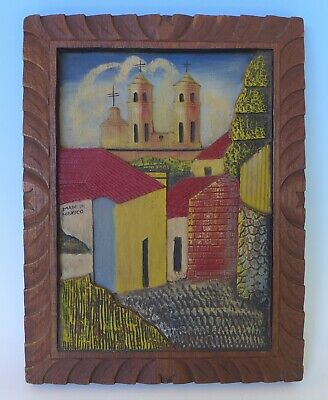 """Large vintage Mexican bas relief wood carving plaque w/church 13 3/4"""" x 10 1/2"""""""