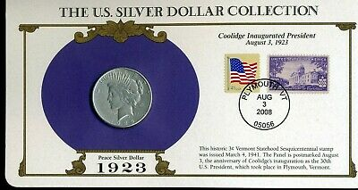US Silver Dollar Collection 1923-S Peace Silver Dollar w/ Postmark & Stamp