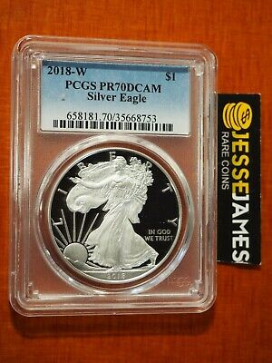 2018 W Proof Silver Eagle Pcgs Pr70 Dcam Traditional Blue Label