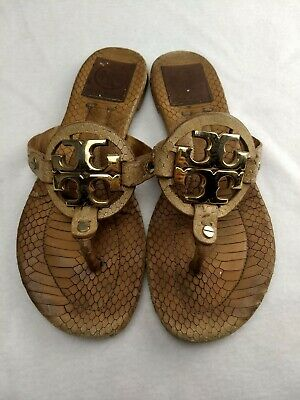 a5720d01327864 Women s 6 Tory Burch Miller Gold Logo Faux Snake Leather Thong Sandals