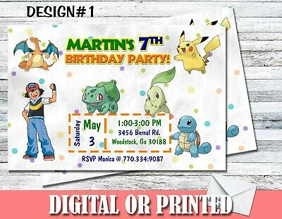 Set Of 5 Pokemon Personalized Birthday Party Invitations MORE DESIGNS