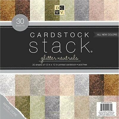 """DCWV  - Cardstock Stack Glitter Neutrals - 12"""" x 12"""" - 48 sheets"""