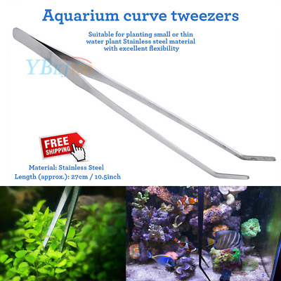 27cm Aquarium Fish Tank Live Plant Curve Long Tongs Stainless Steel Tweezers New
