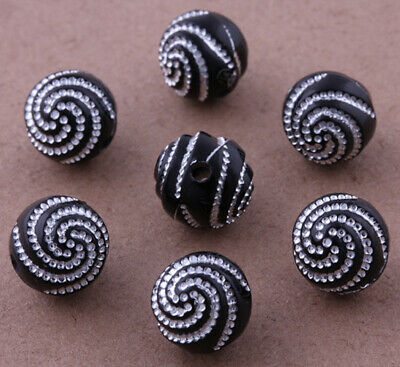 100 Pcs Black Acrylic Spacer Beads Charms Findings Jewelry Bead 10mm