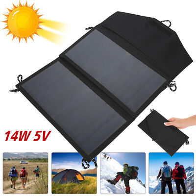 14W 5V Foldable Solar Panel Outdoor Battery Charger For Hiking Camping USB Port