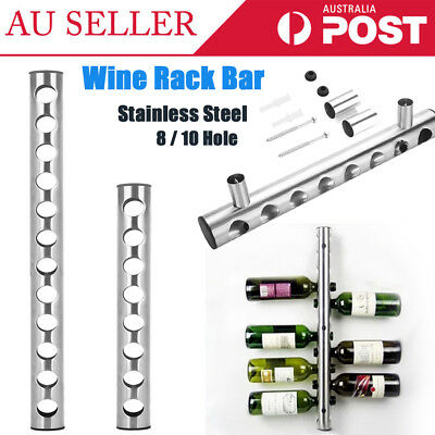 8/12 Hole Stainless Steel Wine Holder Rack Bar Stands Wall Home Barware Display