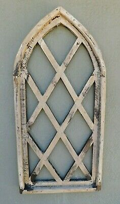"""Wooden Antique Style Church WINDOW Frame Primitive Wood Gothic 30"""" Shabby Chippy"""