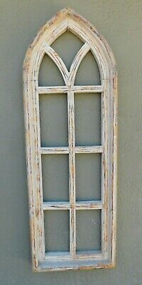 """Wooden Antique Style Church WINDOW Frame Primitive Wood Gothic 34"""" Shabby"""