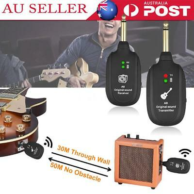 UHF Electric Guitar Wireless System Transmitter Receiver Built-in Rechargeable