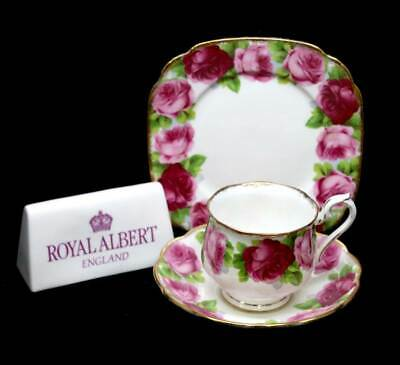Vintage Royal Albert Old English Rose pretty teacup trio with square plate