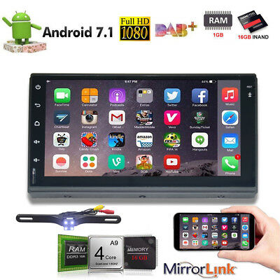 """Android 7.1 7"""" Double 2 DIN Car Radio GPS Player WIFI BT Navi With Backup Camera"""