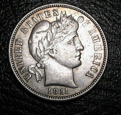 Old Us Coins Choice Silver 1911 D Highgrade Stunning Barber Dime Choice Beauty