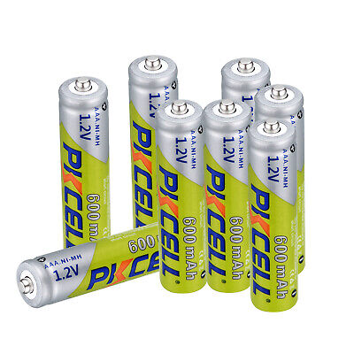 8pcs PKCELL AAA Rechargeable Battery 1.2V Ni-MH 600mAh Batteries For Toy, Camera
